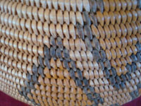 Native American Indian antique baskets, a very beautiful and rare polychrome Chemehuevi olla, Parker, Arizona area, c. 1915-20.  Closeup photo of one part of the Chemehuevi Indian basket, showing the remarkable tightness of the weave.