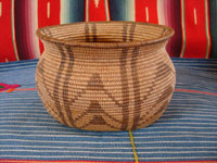 Native American Indian baskets, a very wonderful and rare Chemehuevi basket with an unusual oblong shape and a beautiful geometric pattern of decoration, from near Parker, Arizona, along the Colorado river, c. 1900.  Main photo of the Chemehuevi Indian basket.