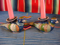 Mexican vintage pottery and ceramics, a lovely pair of pottery candleholders in the form of beautiful and graceful doves, Tonala or Tlaquepaque, Jalisco, c. 1940's. Main photo of the candleholders.
