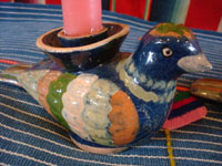 Mexican vintage pottery and ceramics, a lovely pair of pottery candleholders in the form of beautiful and graceful doves, Tonala or Tlaquepaque, Jalisco, c. 1940's. Closeup photo of one candleholder, showing the lovely dove.