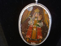 Mexican vintage devotional art, and Mexican vintage sterling silver jewelry, a beautiful relicario with the small retablo beautifully painted on tin, with a lovely sterling silver rope chain, c. 1920's.  Another closeup photo of the first side of the relcario.
