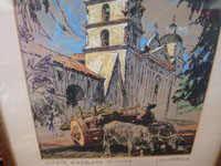Vintage folk art and fine art, a beautiful print depicting the Santa Barbara Mission, with a wonderful ox-cart in front, signed and dated on the back by Dan Masefield, c. 1930. Closeup photo of the bottom of the print, showing tho ox-cart in front of the Mission.