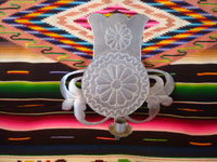 New Mexican tinwork art, and New Mexican folk art, a wonderful tinwork-art candleholder with very fine stamping, New Mexico, c. 1980's.  Main view of the candleholder.