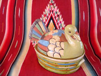 Mexican vintage pottery and ceramics, a lidded casserole in the form of a lovely turkey, Tlaquepaque, c. 1940. The background glaze is a beautiful pale-green, very rare in these pieces, and the artwork on the turkey is very fine. Main photo of the pottery casserole.
