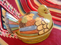 Mexican vintage pottery and ceramics, a lidded casserole in the form of a lovely turkey, Tlaquepaque, c. 1940. The background glaze is a beautiful pale-green, very rare in these pieces, and the artwork on the turkey is very fine. Photo showing a side-view of the turkey casserole from Tlaquepaque.