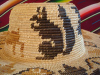 Native American Indian basket, a fantastic basketry hat by the famed contemporary basket-weaver, Abe Sanchez, from California, c. 1990. Closeup of a squirrel woven into the Indian basket hat.