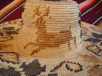Native American Indian basket, a fantastic basketry hat by the famed contemporary basket-weaver, Abe Sanchez, from California, c. 1990. Closeup photo of a graceful deer woven into the Indian basket hat.