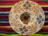 Native American Indian basket, a fantastic basketry hat by the famed contemporary basket-weaver, Abe Sanchez, from California, c. 1990. Photo showing the bottom and inside of the Indian basket hat.