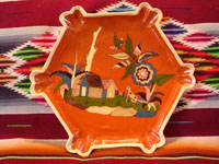 Mexican vintage pottery and ceramics, a very fine hexagonal plate with a wonderful doggie set in a rural scene, Tonala or Tlaquepaque, Jalisco, c. 1920-30's. Main photo.