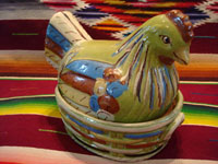 Mexican vintage pottery and ceramics, and Mexican vintage folk-art, a wonderful lidded casserole in the shape of a nesting hen, with a very fine pale-green background, Tlaquepaque or Tonala, Jalisco, c. 1930-40's. Main photo of the nesting hen casserole.