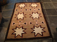 Native American Indian antique and vintage textiles and Navajo rugs, a very beautiful Navajo pictorial rug with lovely vallejo stars, c. 1920-30's. Main photo of the Navajo rug.