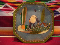 Mexican vintage pottery and ceramics, a wonderful hexagonal plate with a lovely watercolor type background glaze (very unusual and beautiful) from Tonala or Tlaquepaque, Jalisco, c. 1920-30's. Main view of the Tonala or Tlaquepaque pottery plate.