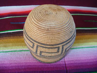 Native American Indian antique baskets, a very finely-woven Chemehuevi olla with a lovely geometric design, c. 1920. Photo of the bottom of the Indian basket, a lovely Chemehuevi olla.