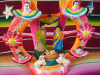 Mexican vintage folk art, and Mexican vintage pottery and ceramics, a lovely and very colorful tree-of-life depicting the Nativity Scene with five wonderful angels, Izucar de Matamoros, c. 1960's.  Closeup of the bottom of the tree, showing the lovely Nativity Scene.