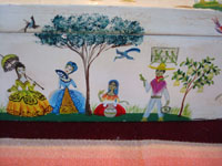 Mexican vintage woodcarving, and Mexican vintage folk art, a carved and lacquered wooden keepsake box with lovely painted scenes on every side and on the top, signed Corona from Mexico, c. 1940's. Photo showing the artwork on one side of the box, a scene of Mexican village life.