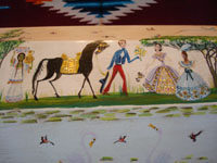 Mexican vintage woodcarving, and Mexican vintage folk art, a carved and lacquered wooden keepsake box with lovely painted scenes on every side and on the top, signed Corona from Mexico, c. 1940's. Photo of another part of the box, showing a Mexican gentleman with his horse courting a lovely Mexican noblewoman in a lovely dress.