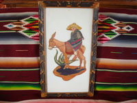 Mexican vintage straw-art (popote art or popotillo), and Mexican vintage folk art, a straw-art picture of a Mexican paisano, wearing a wonderfully detailed sarape and a great sombrero, on his trusty mount, Mexico, c. 1950's. Main photo of the Mexican paisano on his burro.