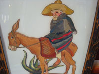 Mexican vintage straw-art (popote art or popotillo), and Mexican vintage folk art, a straw-art picture of a Mexican paisano, wearing a wonderfully detailed sarape and a great sombrero, on his trusty mount, Mexico, c. 1950's. A closer view of the picture.