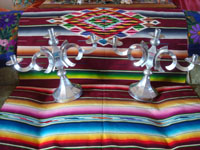 Mexican vintage tinwork art (tin art), a pair of very beautiful tinwork candleholders, Mexico, c. 1950's. Main photo.