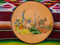 Mexican vintage pottery and ceramics, a Tlaquepaque plate with an incredibly fine Mexican rural scene, attributed to the great Balbino Lucano (this based on the face of the Mexican paisano pictured in the scene), Tonala or Tlaquepaque, Jalisco, c. 1920-30's.  Main photo of the front of the Tlaquepaque plate.