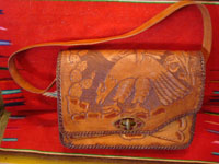 Mexican vintage folk art, and Mexican vintage leather-work, a beautiful leather purse with wonderful tooled floral designs, c. 1930's.  Main photo of the purse.