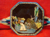 Mexican vintage pottery and ceramics, a blackware octogonal plate with very fine and detailed artwork and a lovely border, Tonala or Tlaquepaque, Jalisco, c. 1930.  Main photo of the plate.