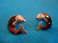 Mexican vintage sterling silver jewelry, and Taxco vintage silver jewelry, a lovely pair of silver and tortoise-shell earrings in the shape of wonderful fish, signed with the logo for William Spratling, Taxco, c. 1940's.  Another view of both earrings.