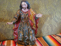 Mexican antique Colonial art, and Mexican Colonial devotional art, an incredible hand-carved Nativity set with wonderful statues of Jesus, Mary, and Joseph, Mexico, c. 17th-18th century. Photo of St. Joseph.