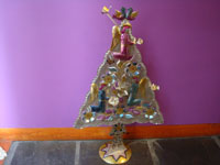Mexican vintage folk art, and Mexican vintage tinwork art, a lovely tinwork-art Christmas tree beautifully decorated with angels and birds, Oaxaca, c. 1950's. Main photo of the tree.
