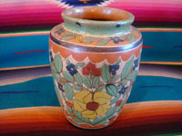 Mexican vintage pottery and ceramics, a lovely petatillo vase, with beautiful hand-painted decorations, Tonala or San Pedro Tlaquepaque, Jalisco, c. 1930's. Main photo of one side of the vase.