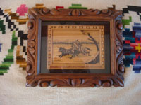 Mexican vintage straw-art, popote art or popotillo, a wonderful straw-art scene of a charro on horseback, attributed to the great G. Olay, Mexico, c. 1930's. Main photo of the piece.