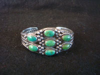 Native American vintage sterling silver jewelry, and Navajo sterling silver jewelry, a lovely Navajo silver bracelet with beautiful turquoise stones, very likely Cerillos, c. 1950's. Main photo of the Navajo silver bracelet.