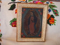 Mexican vintage devotional art, and Mexican vintage tinwork art, a beautiful retable depicting Our Lady of Guadalupe, painted on tin and framed, c. 1930. Main photo of the retablo.