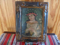 Mexican vintage devotional art, and Mexican vintage tinwork art, a lovely retablo depicting the Anima de Maria (Spirit of Mary, the Mother of God), painted on tin, c. 1930.  Main photo of Our Lady.