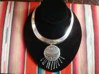 Mexican vintage sterling silver jewelry, and Taxco vintage sterling silver jewelry, a stunning choker-style necklace with a magnificent medallion or pendant, Taxco, c. 1940's. Main photo of the choker.