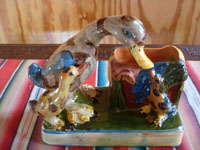 Mexican vintage folk art, and Mexican vintage pottery and ceramics, a wonderful pottery vase with adorable ducklings, Tonala or San Pedro Tlaquepaque, c. 1940's. Main photo of the duck vase.