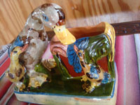 Mexican vintage folk art, and Mexican vintage pottery and ceramics, a wonderful pottery vase with adorable ducklings, Tonala or San Pedro Tlaquepaque, c. 1940's. A closer photo of the vase with ducklings.