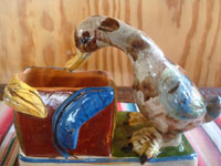 Mexican vintage folk art, and Mexican vintage pottery and ceramics, a wonderful pottery vase with adorable ducklings, Tonala or San Pedro Tlaquepaque, c. 1940's. Another side of the vase.