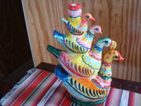 Mexican vintage folk art, and Mexican vintage pottery and ceramics, a pottery sculpture composed of very colorful stacking birds, Izucar de Matamoros, Puebla, c. 1960's. Main photo of the birds.