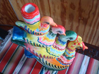 Mexican vintage folk art, and Mexican vintage pottery and ceramics, a pottery sculpture composed of very colorful stacking birds, Izucar de Matamoros, Puebla, c. 1960's. Another side of the stacking birds.