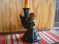 Mexican vintage folk art, and Mexican vintage pottery and ceramics, a lovely pottery candleholder with a beautiful angel, Michoacan, c. 1940's. Main photo of the candleholder.