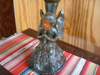 Mexican vintage folk art, and Mexican vintage pottery and ceramics, a lovely pottery candleholder with a beautiful angel, Michoacan, c. 1940's. A photo of another side of the candleholder.