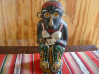 Mexican vintage folk art, and Mexican vintage pottery and ceramics, a wonderful monkey bottle for mezcal, Oaxaca, c. 1930's.  Main photo of the monkey bottle.