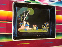 Mexican vintage pottery and ceramics, a rectangular dish with rural Mexican scene, blackware, from Tlaquepaque, Jalisco, c. 1920-30. Main photo.