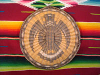 Native American Indian antique basket, a Hopi wicker plaque with eagle design, c. 1930. A photo of the entire plaque.