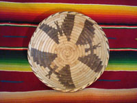 Native American Indian basket, a lovely Papago basketry tray with bats, c. 1930-40. Main photo.