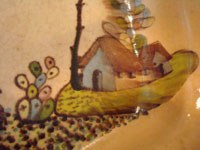 Mexican vintage pottery and ceramics, a beautiful six-sided bowl from Tlaquepaque, Jalisco, c. 1920-30. Closeup showing the Mexican peasant's house.