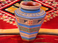 Mexican vintage pottery and ceramics, a vase with geometric prehispanic designs by the famous artist, Ladislao Ortega, Tonala, Jalisco, c. 1930's. Main photo of vase.