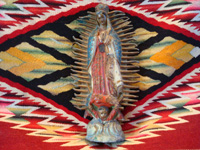 Mexican vintage devotional art, a wonderful statue of Our Lady of Guadalupe made of pot-metal and hand-painted, c. 1930's.  Main photo.
