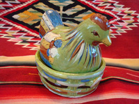 Mexican vintage pottery and ceramics, a lidded casserole dish in the shape of a wonderful nesting chicken, with a fine green background and great artwork decoration, Tlaquepaque, c. 1930-40.  Main photo of the Tlaquepaque pottery chicken casserole.